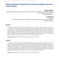 Las disputas por el litio en Argentina: ¿Materia prima, recurso estratégico o bien común?